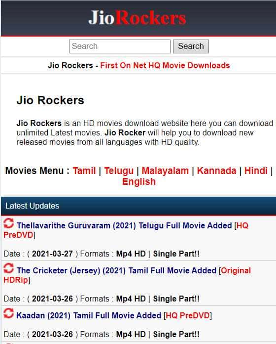 Jio Rockers 2021 - Tamil, Kannada, Telugu Movies Free Download